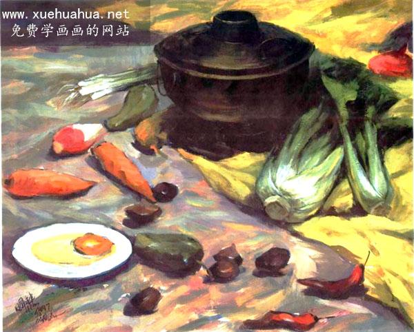 水粉画作品赏析-蔬菜、水果、火锅、白瓷盘、蛋组合