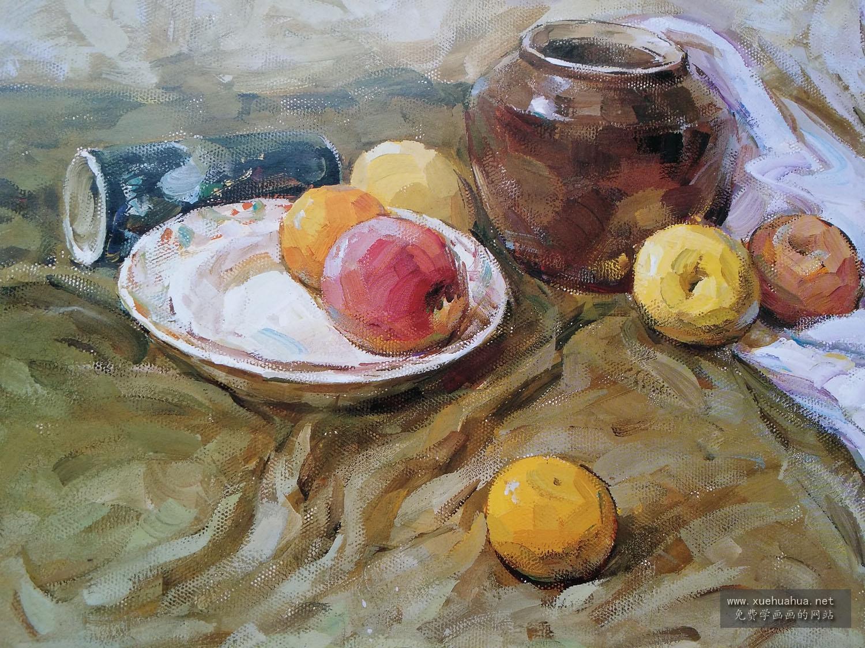 优秀水粉画作品 临摹画(易拉罐、水果、陶罐)(1)