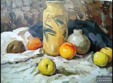 优秀水粉画作品欣赏_冷色调花瓶衬布水果