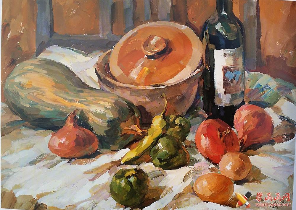 优秀水粉静物作品(砂锅、酒瓶、青椒、瓜、洋葱)欣赏(1)