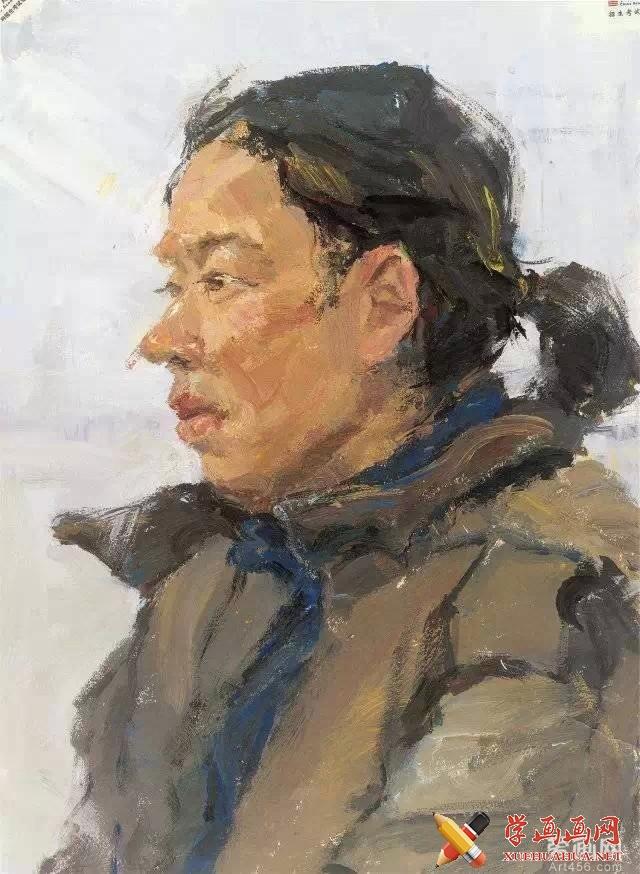 中国美院优秀水粉画作品《侧面中年女子头像》