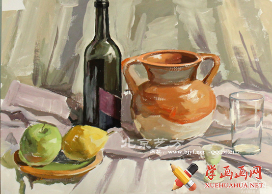 美术静物素描红酒瓶步骤图片