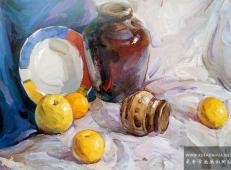 优秀静物水粉画作品《蓝灰衬布、陶罐、水果组合》