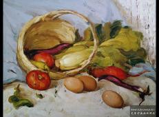 水粉静物《竹篮、鸡蛋、蔬菜、西红柿组合》临摹图