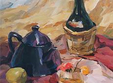 优秀水粉画作品赏析《红酒瓶、茶壶、水果组合》