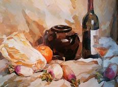 优秀水粉静物作品欣赏(白菜、萝卜、红酒瓶、陶罐暖色调组合)
