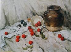 静物水粉画作品:陶罐、樱桃灰色调组合