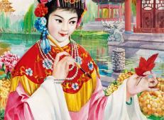 八十年代人物水粉画作品《红叶题诗》(高清图片)