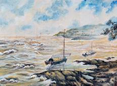 谢瑞阶水粉风景画作品《黄河图》