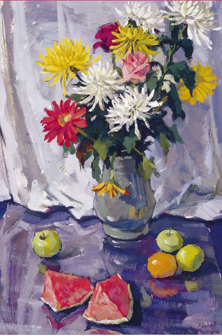优秀静物水粉画作品:花卉、花瓶、水果、西瓜组合(1)