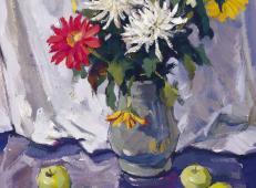 优秀静物水粉画作品:花卉、花瓶、水果、西瓜组合
