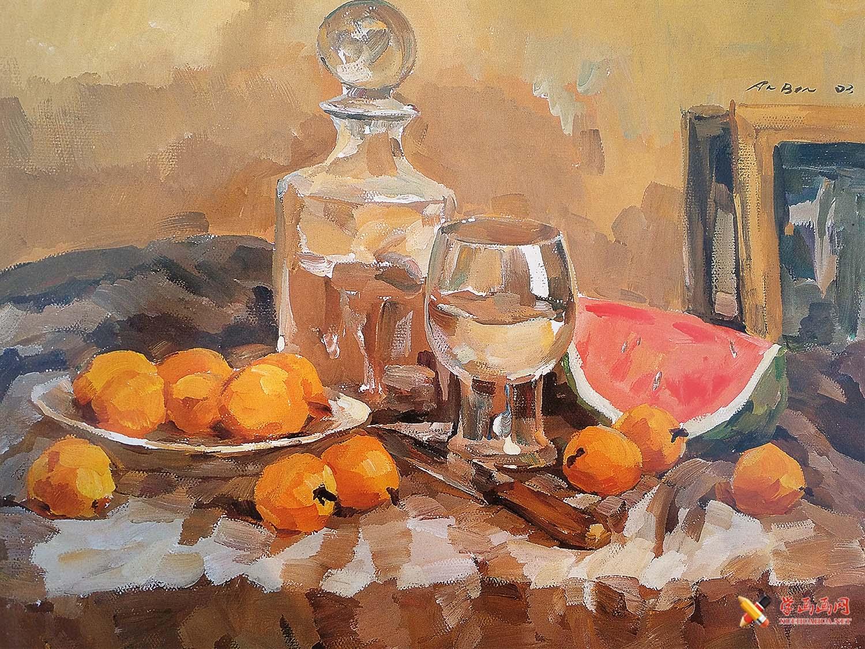 优秀水粉画作品欣赏_水粉静物(玻璃器皿、透明高脚杯、西瓜、桔子组合)临摹图片(1)