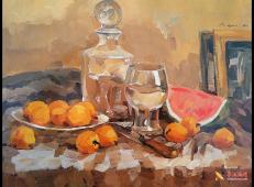 优秀水粉画作品欣赏_水粉静物(玻璃器皿、透明高脚杯、西瓜、桔子组合)临摹图片