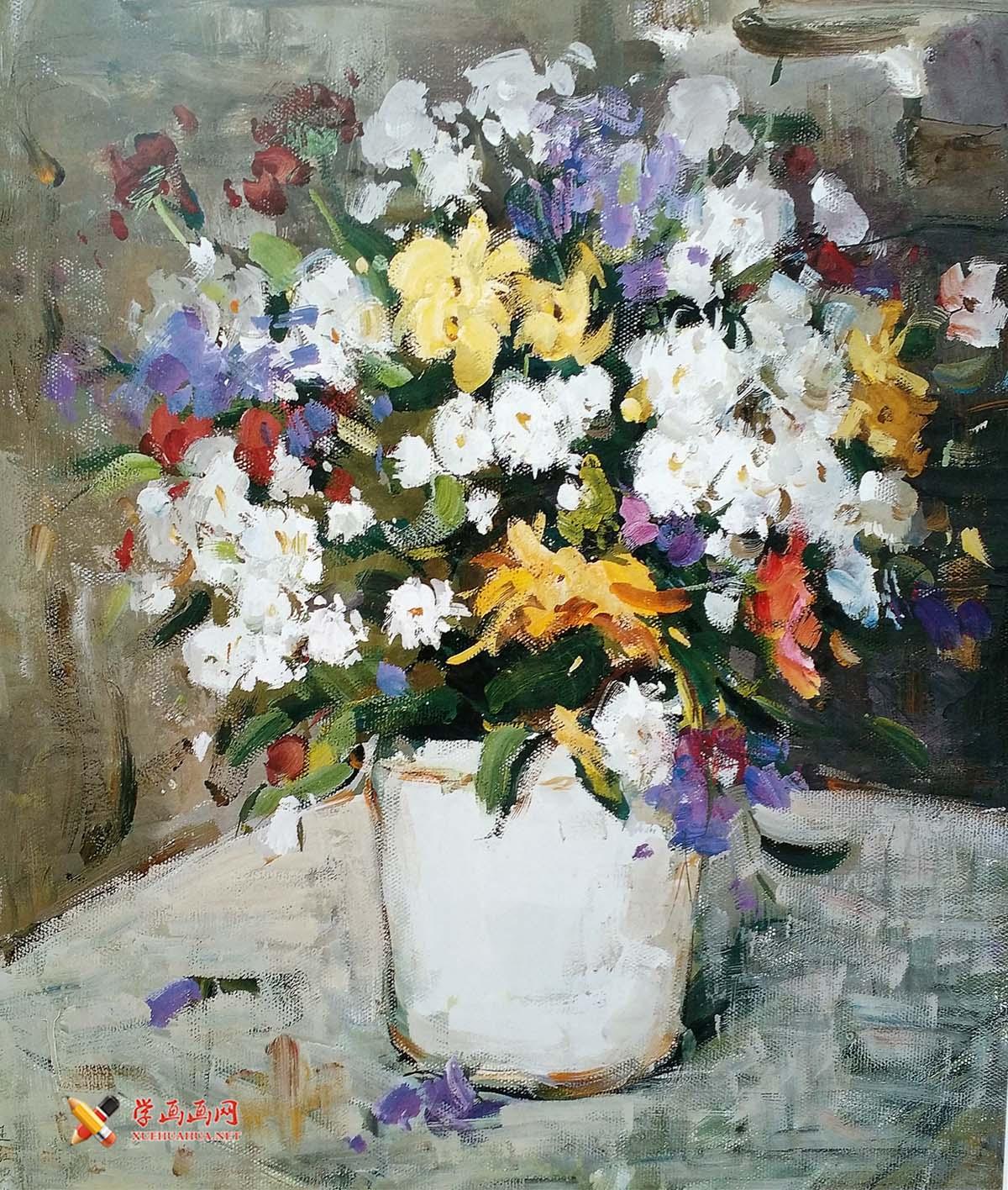 花卉水粉画作品1幅(1)