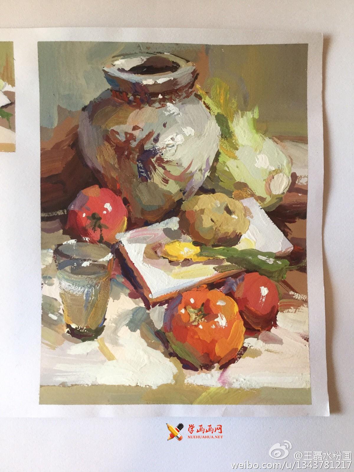 静物水粉画作品:陶罐、西红柿、白菜、水杯组合(1)