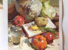 静物水粉画作品:陶罐、西红柿、白菜、水杯组合