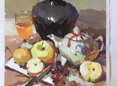 水粉画范画:茶壶、陶罐、苹果、葡萄、水果刀的画法