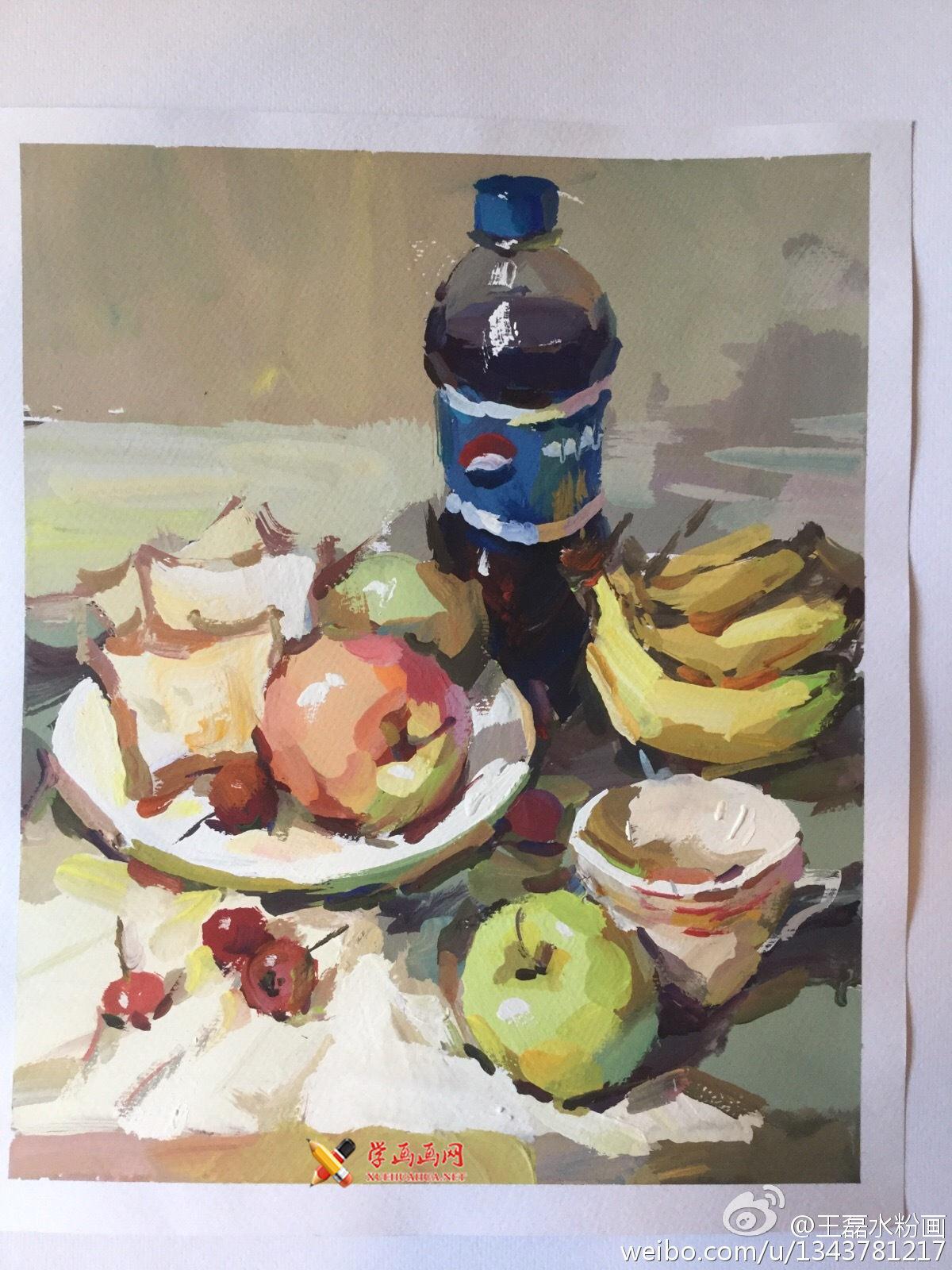 水粉画静物图片:可乐瓶、苹果、面包、香蕉、白瓷盘组合(1)