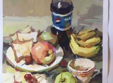 水粉画静物图片:可乐瓶、苹果、面包、香蕉、白瓷盘组合