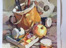 优秀水粉画静物作品:水桶、调色盒、画笔、颜料组合
