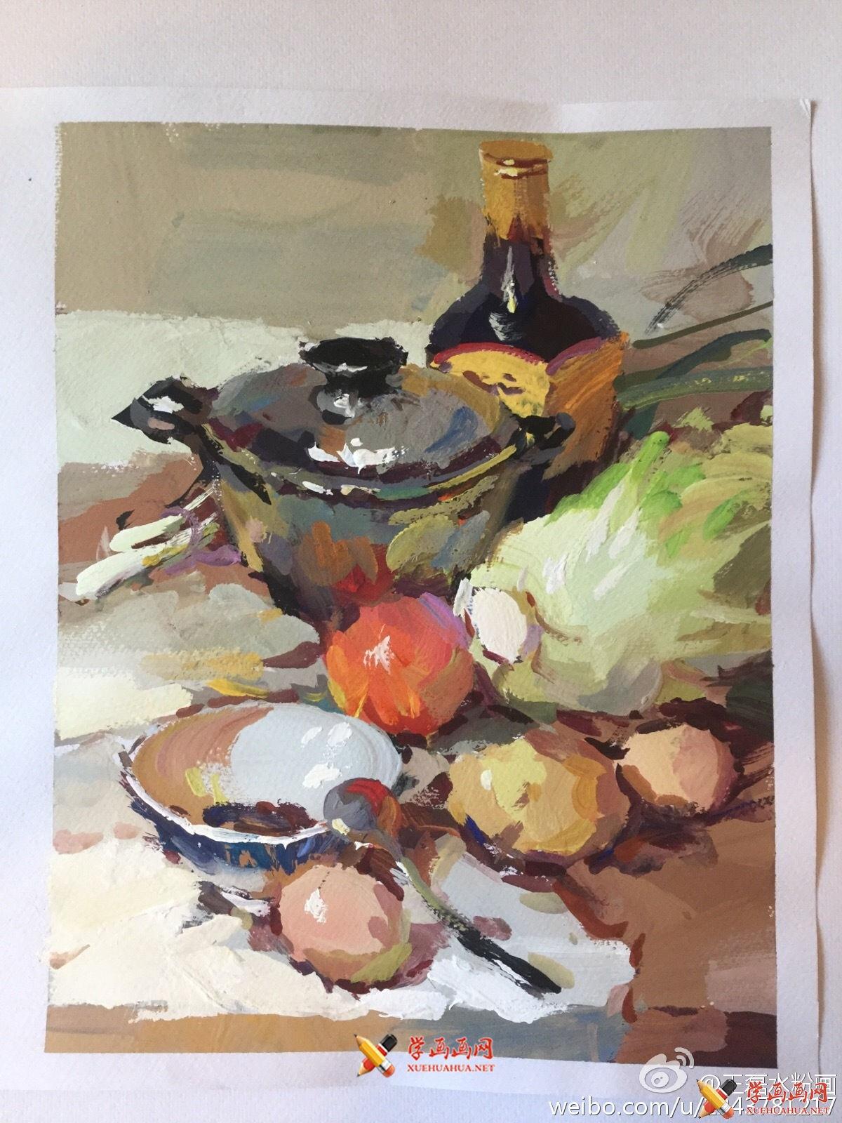 水粉画范画:不锈钢锅、鸡蛋、西红柿、白菜的画法(1)