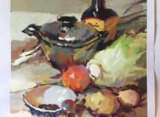 水粉画范画:不锈钢锅、鸡蛋、西红柿、白菜的画法