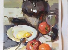 水粉画临摹素材:白瓷盘、高脚杯、西红柿、陶罐的画法