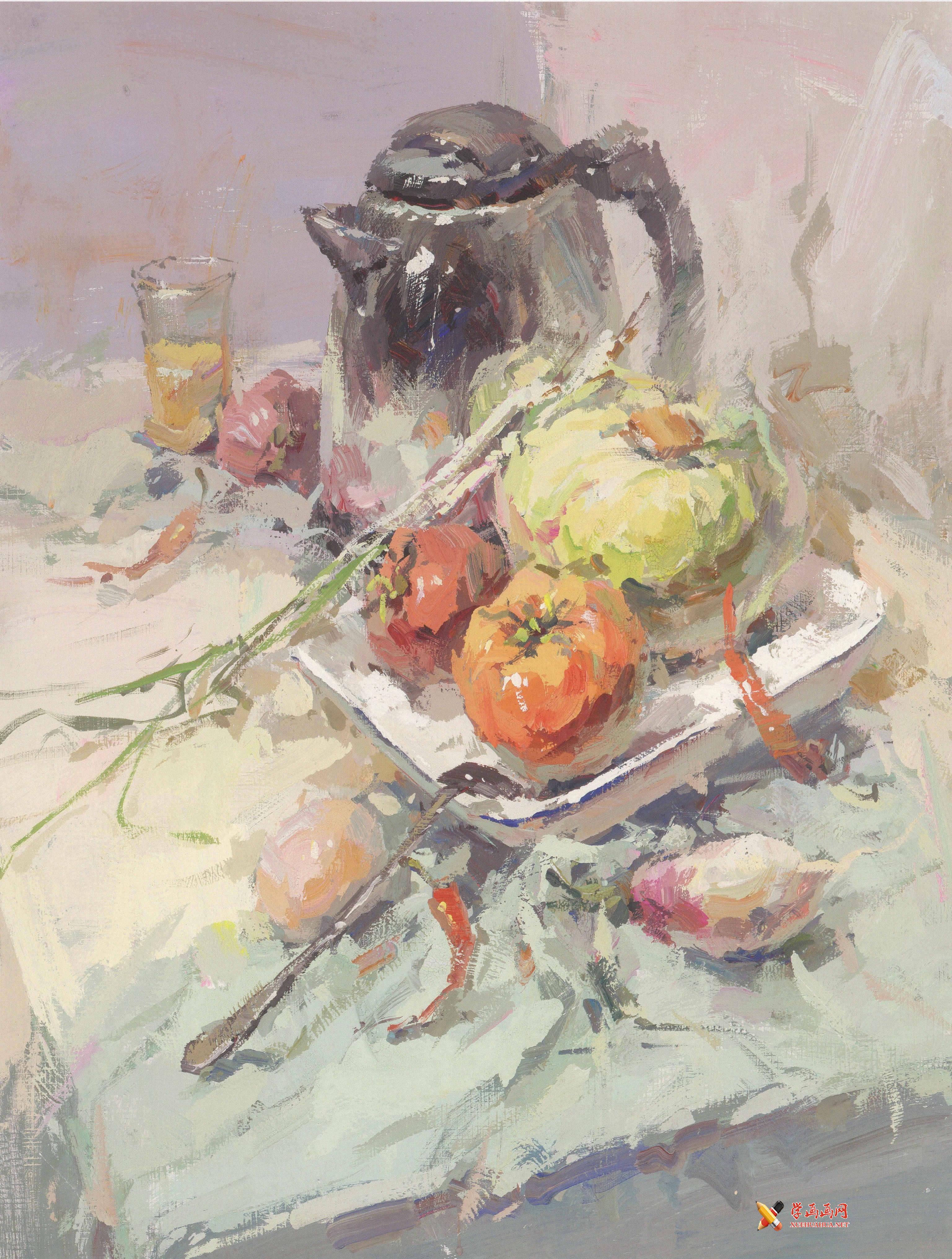 优秀水粉静物作品欣赏(不锈钢电热水壶、透明玻璃杯、番茄、包菜、不锈钢物体组合画法)(1)