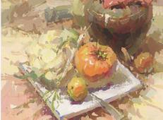 优秀水粉画临摹素材:酒坛、花菜、匕首、西红柿、酒瓶、白瓷盘的画法