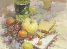 水粉画静物范画:雪碧瓶、苹果、玻璃杯、面包组合画法高清图片