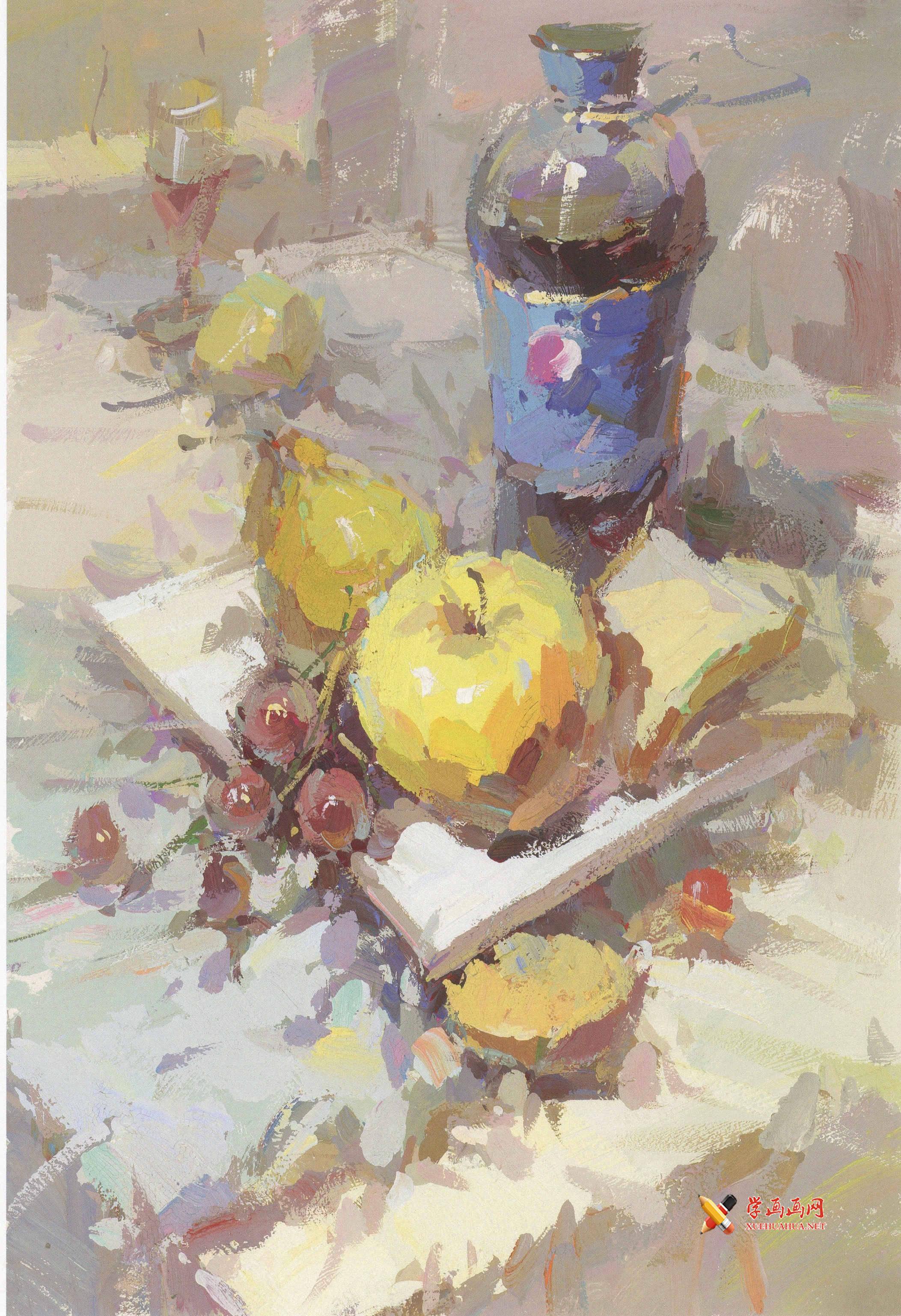 水粉画图片:百事可乐、白瓷盘、葡萄、苹果、面包的画法组合(1)
