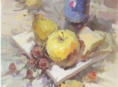 水粉画图片:百事可乐、白瓷盘、葡萄、苹果、面包的画法组合
