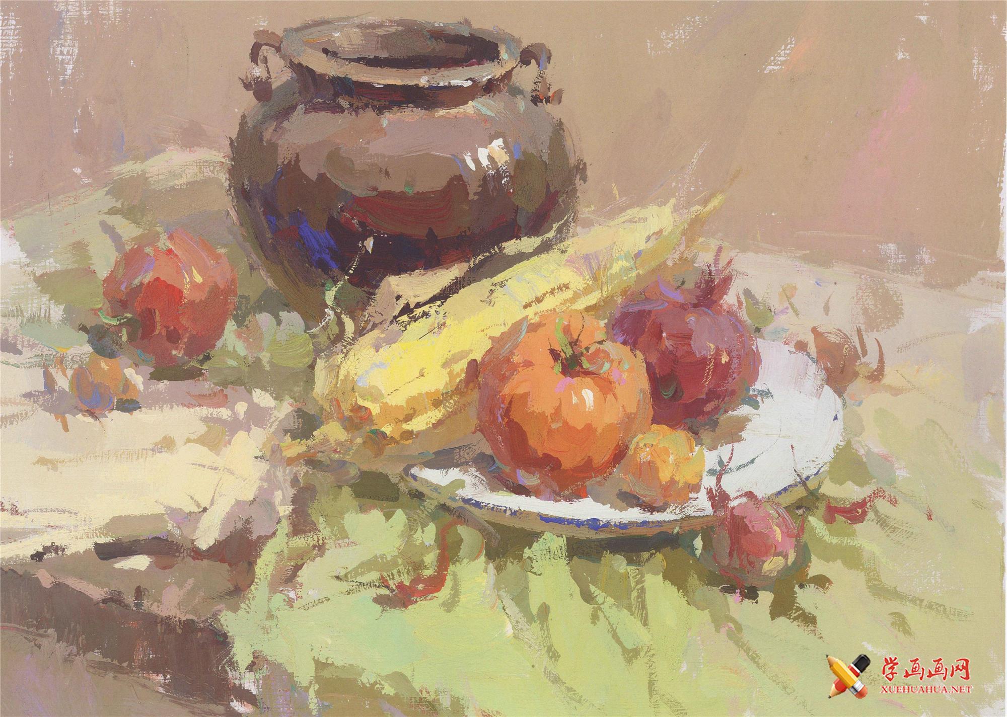 水粉画图片:深色罐子、红萝卜、玉米、西红柿、洋葱组合画法(1)