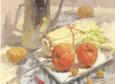 水粉画静物图片:不锈钢壶、西红柿、白菜、 白瓷盘等组合画法