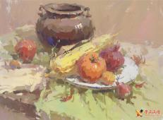 水粉画图片:深色罐子、红萝卜、玉米、西红柿、洋葱组合画法