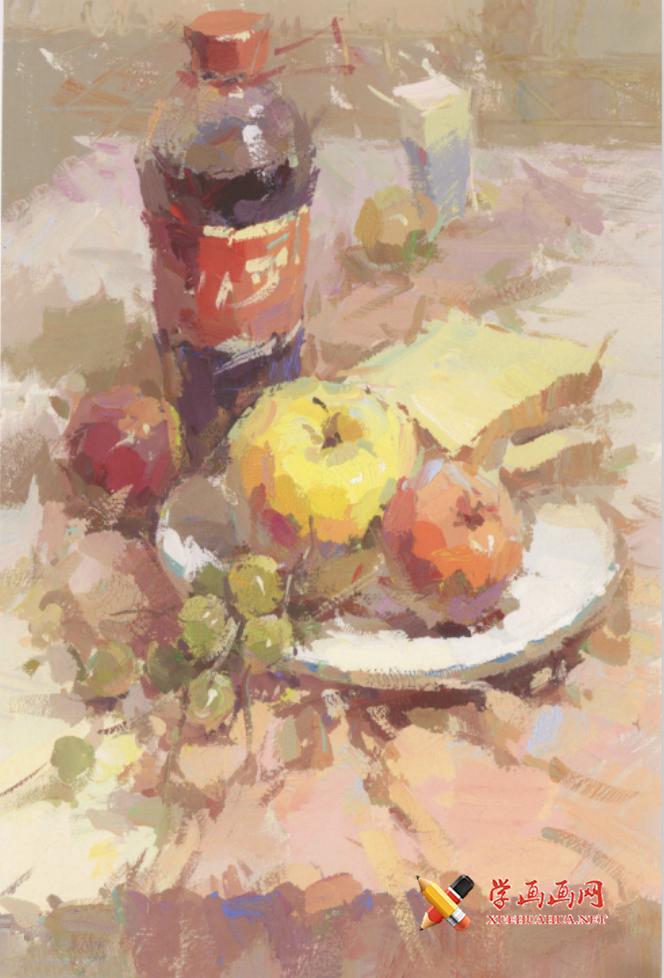 优秀水粉画静物临摹素材:可乐瓶、水果组合画法高清图片(1)