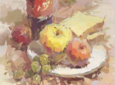 优秀水粉画静物临摹素材:可乐瓶、水果组合画法高清图片