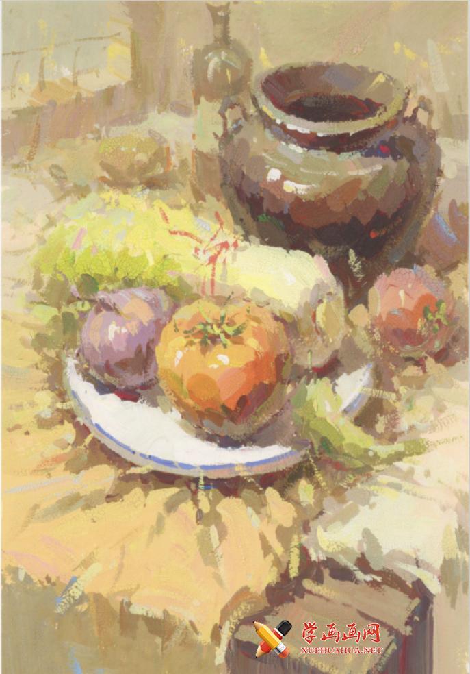 优秀水粉画静物图片:罐子、娃娃菜、番茄、洋葱、白瓷盘的组合画法临摹素材(1)