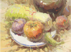 优秀水粉画静物图片:罐子、娃娃菜、番茄、洋葱、白瓷盘的组合画法临摹素材