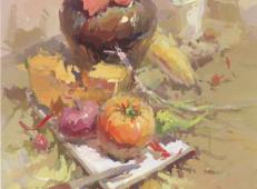 优秀水粉画静物作品:酒坛、水果、白瓷盘、水果刀高清临摹图片
