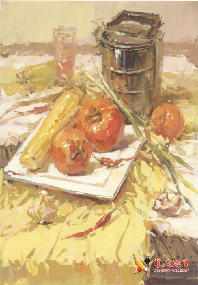 优秀色彩静物图片:不锈钢饭盒、西红柿、玉米、白瓷盘、大葱组合高清临摹图片素材(1)