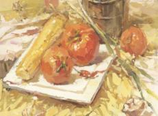优秀色彩静物图片:不锈钢饭盒、西红柿、玉米、白瓷盘、大葱组合高清临摹图片素材
