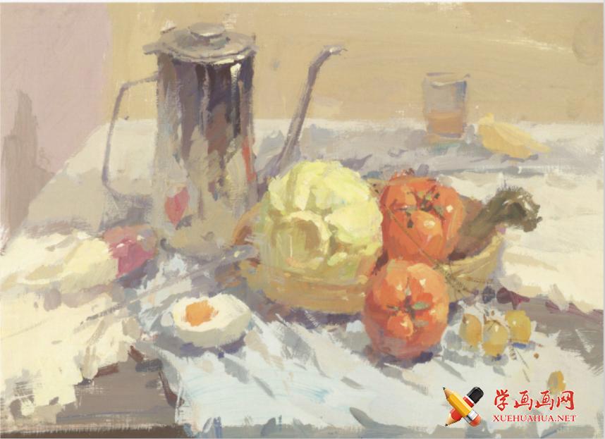 色彩静物:水粉画不锈钢器皿、包菜、水果、咸鸭蛋得画法组合高清临摹图片(1)