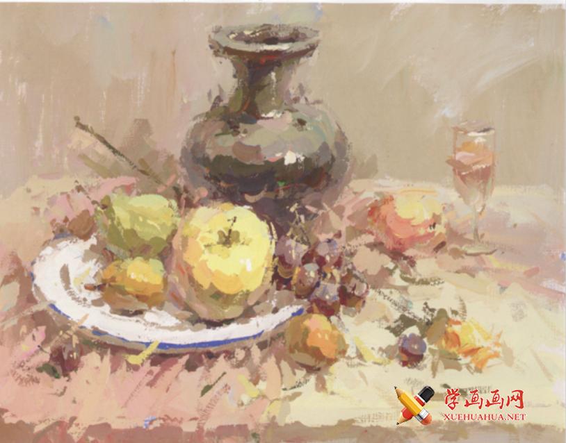 优秀水粉画图片:花瓶、苹果、白磁盘、高脚杯的画法高清临摹图片素材(1)