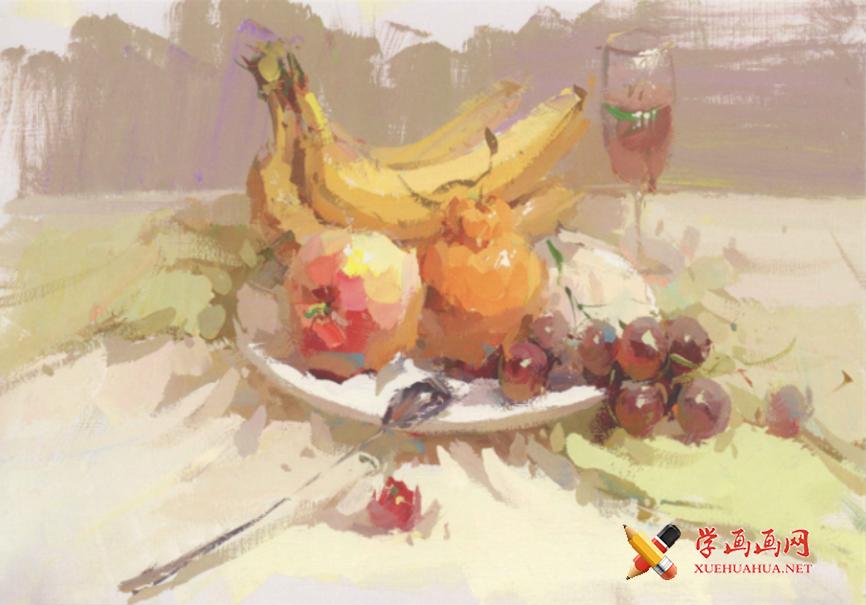 水粉画香蕉、苹果、葡萄等组合的画法高清水粉画图片素材【可临摹】(1)