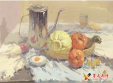 色彩静物:水粉画不锈钢器皿、包菜、水果、咸鸭蛋得画法组合高清临摹图片