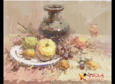 优秀水粉画图片:花瓶、苹果、白磁盘、高脚杯的画法高清临摹图片素材