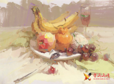 水粉画香蕉、苹果、葡萄等组合的画法高清水粉画图片素材【可临摹】