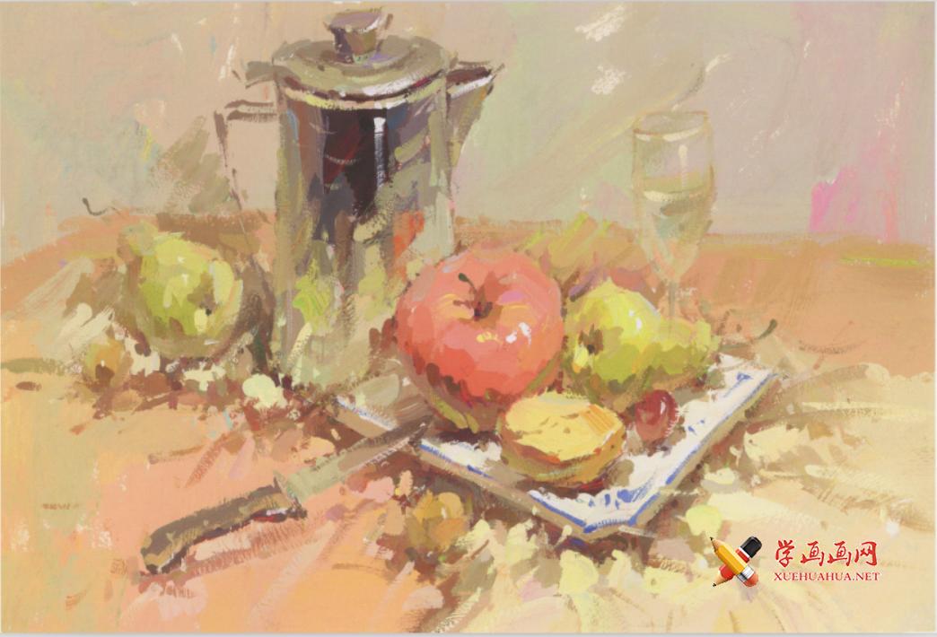 美考色彩图片:不锈钢水壶、不锈钢水果刀、苹果、白磁盘组合的画法高清临摹图片(1)