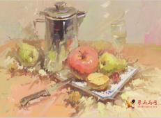 美考色彩图片:不锈钢水壶、不锈钢水果刀、苹果、白磁盘组合的画法高清临摹图片